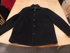 Express Men's Large Black Wool Over Coat,Quilted Poly fill Interior,5 button