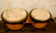 OLDFIELD TWIN BONGO DRUMS  24CM AND 21CM DIAMETER 18CM HIGH WOODEN SOLID HEAVY