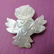 Celluloid BROOCH faux mother of pearl figural pin Little Happy OWL MOP Bird