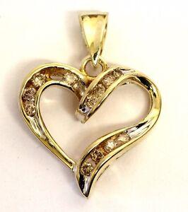 10k yellow gold .25ct SI2 J-K brown diamond heart pendant 2.2g estate vintage