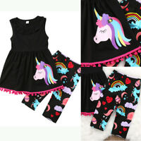 US Cotton Unicorn Kids Baby Girls Outfit Clothes T-shirt Tops Dress+Shorts Pants
