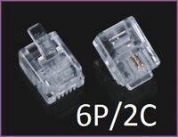 Lot 1 à 50 RJ11 Connecteur telephonique Male 2pins 6P2C generique Transparent