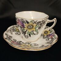 Rosina cup & Saucer Bone China England Art Deco Scalloped Swirl