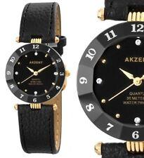 Damen Armbanduhr Schwarz/Gold Cutglas Kunstleder-Armband 3 ATM von AKZENT