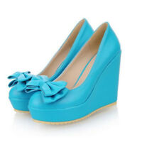 Fashion Women's Solid Bowknot Platform Wedge High Heels Casual Shoes Size 8