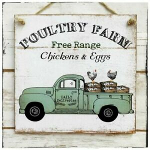Wall hanging plaque/picture Rustic Poultry Farm Free Range Chickens & Eggs