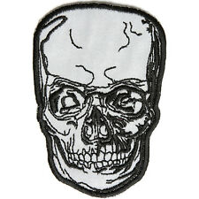 Embroidered Reflective Skull Sew or Iron on Patch Biker Patch