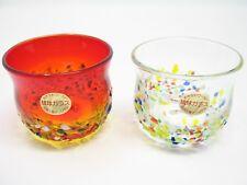 Pair of Red & Clear Ryukyu Glass Cups (Handmade in Okinawa, Japan)