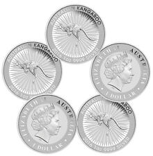 2016 1 oz Silver Australian Kangaroo Coins - 5 oz Total (.999 BU, Lot of 5)