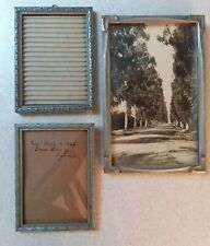 Lot of 3 Antique Art Deco Wooden Photo Picture Frames, w/glass (1 convex) gray