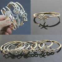 Fashion Women Charm Crystal Rhinestone Gold Plated Cuff Bracelet Bangle Jewelry