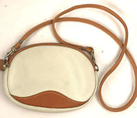 Vintage Pebbled Leather Oval Crossbody Purse Cream Brown Zip Top