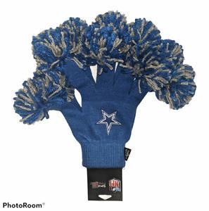 NWT Rare NFL Dallas Cowboys Women's Spirit Fingerz Pom Pom Woven Gloves OSFM