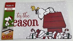 "Peanuts Snoopy Anti Fatigue Mat 18X30"" Tis The Season Christmas Woodstock NWT"