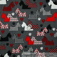 BonEful Fabric FQ Cotton Quilt Gray B&W Red DOG Scottie Scottish Terrier Paw USA