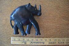 Vintage Antique Hand Carved Solid Ebony Wood Rhinoceros Toenails Figurine Rare