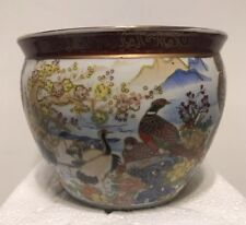 """High Quality Porcelain Asian Fish Bowl Vase with Handpainted Birds 5""""H X 6""""W"""