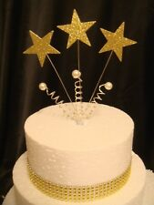 wired glitter gold star pearl trim anniversary birthday cake topper