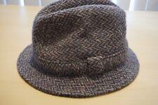 Donegal Tweed 100% Wool Made in Ireland Blue Herringbone Mens Hat Sz 7 1/8 M