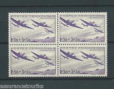 FRANCE AVIONS - 1942 YT 540 bloc de 4 - TIMBRES NEUFS** LUXE - COTE 12,00 €