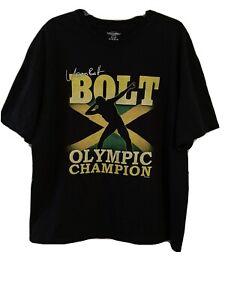 USAIN BOLT Olympic Champion Jamaica Black T-Shirt Gold Medalist Size Mens XXL