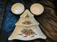 Lenox Winter Greetings Tree Divided Server Christmas Bowl & 2 Candy Dishes