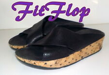 "Fabulous ""FITFLOP"" KYS Wedge Slide  Leather Sandals  Shoes UK 5   EU 38  £65"