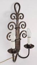 Vintage Art Deco Nouveau Wrought Iron Scroll Wall Sconce Light Fixture