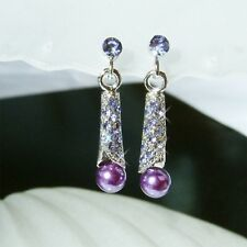 Purple Pearl Shell made with Swarovski Crystal Bride Wedding Prom Party Earrings
