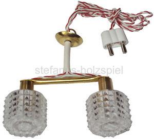 Hängelampe 2-flammig für Puppenhaus, Puppenstube Lampe aus Messing Beli-Beco 854