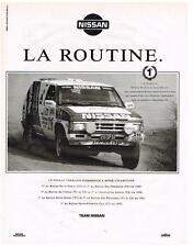 PUBLICITE ADVERTISING  1992  NISSAN   LA ROUTINE  1° au PARIS-DAKAR