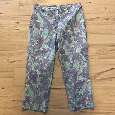 d3558fc90e9f Lilly Pulitzer Womens Cotton Capri Crop Pants Blue Purple Animals - Size 10