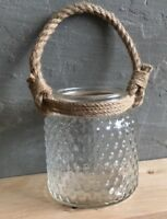 Large Hurricane lantern candle holder, Rope Handle Textures Glass Wedding Rustic