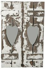 Large Rustic Chic Distressed Wooden Heart Wall Mirror 60cm Home Bedroom Bathroom