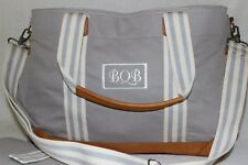 Pottery Barn Gray Polyester Leather Classsic Diaper Bag NWOT Free Ship MSRP $149