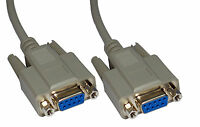 Null Modem Cable DB9 Female DB9F 10 Metre Crossed lead New 10m RS232 Lead Serial