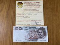 REPUBBLICA ITALIANA BANCONOTA LIRE 100000 CARAVAGGIO I TIPO D 1990 SPL