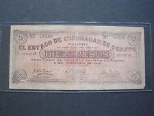 MEXICO MICHOACAN 10 PESO 1915 S883 SCARCE #Y MEXICAN REVOLUTION PAPER MONEY