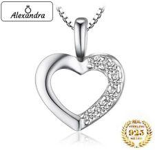 Collar Colgante Joya Corazón de Plata 925 Para Mujer con Brillantes