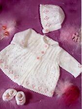 "Baby Premature Matinee Coat Bonnet Shoes 12 - 20"" DK Knitting Pattern"