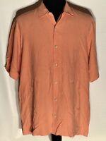 Tommy Bahama Floral Salmon XL 100% Silk Short Sleeve Button-Front Hawaiian Shirt