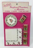 Vintage Hostess Barware 20 Napkins 10 Coasters 4 Matches USA Red Roses NOS New