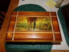 VNTG. JEWELRY BOX DOVE TAILED SOLID WOOD INLAY WOODED SCENE. MIRROR 1950'S