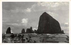 RPPC Haystack Rock CANNON BEACH ORE Photo Haworth - Vintage  POSTCARD