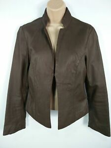WOMENS M&S LIMITED COLLECTION BROWN 100% REAL LEATHER SMART JACKET COAT SIZE S