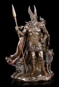 Odin Figur mit Wölfen - Nordischer Gott Göttervater Statue Wikinger Ase Veronese