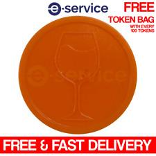 More details for wine plastic orange tokens event glass drink embossed wedding bar party free bag