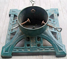 "Antique Vintage Cast Iron 14"" Square Christmas Tree Stand 6"" diameter Tree Trunk"