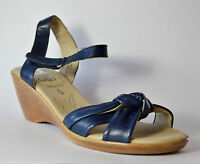 Caprice Damenschuh Sandale mit Keilabsatz blau Leder Gr. 39 (PE 1710+1709/S)