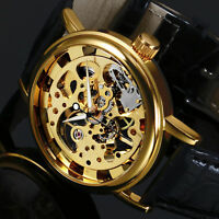 Mens Watch Mechanical Black Leather Strap Hand Winding Analog Skeleton Luxury